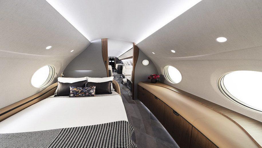 chambre lit dans jet privé luxe