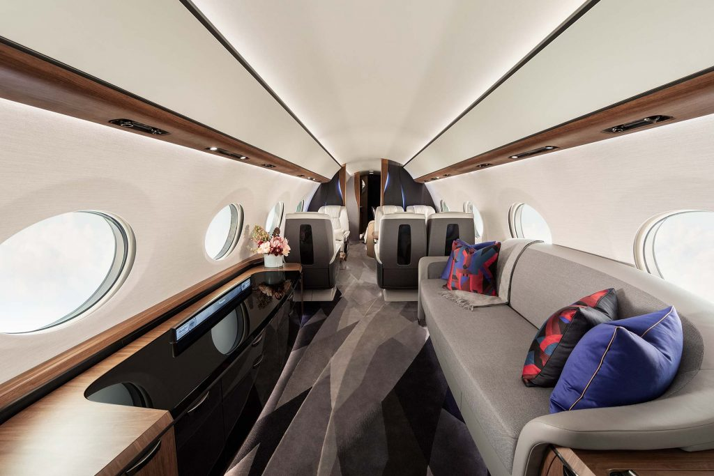 salon dans avion jet privé de luxe
