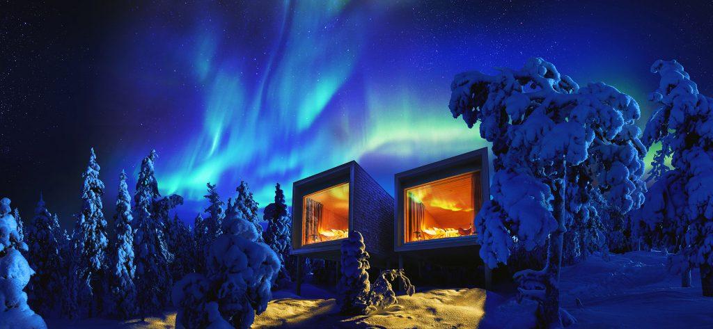 Ciel bleu nord aurores boréales