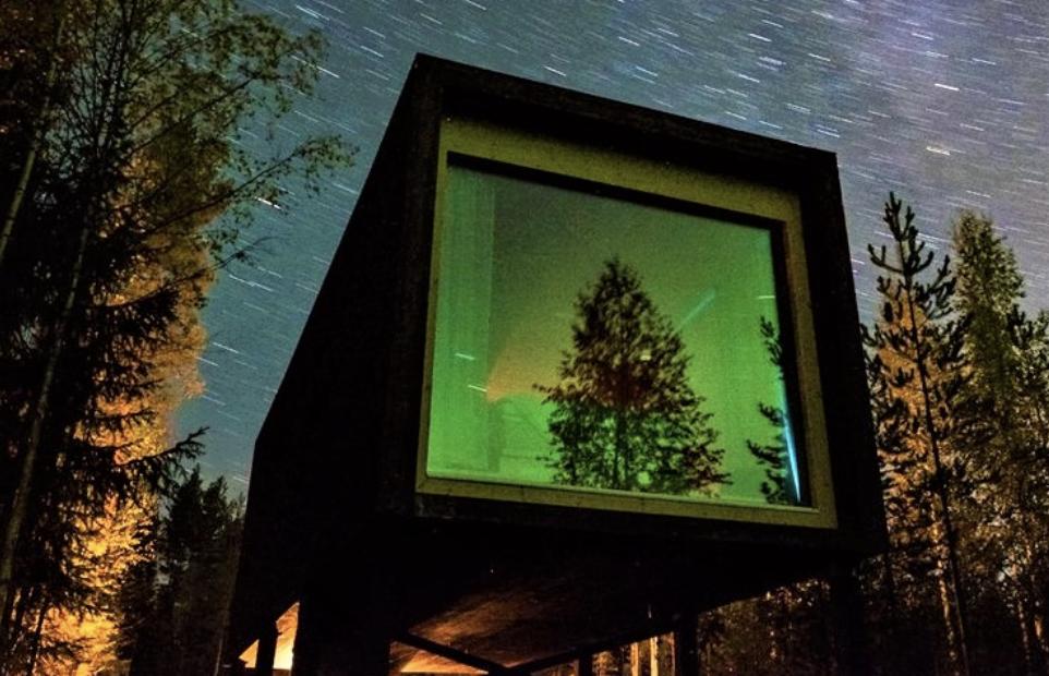 Cube arbre miroir reflet verts aurores boréales