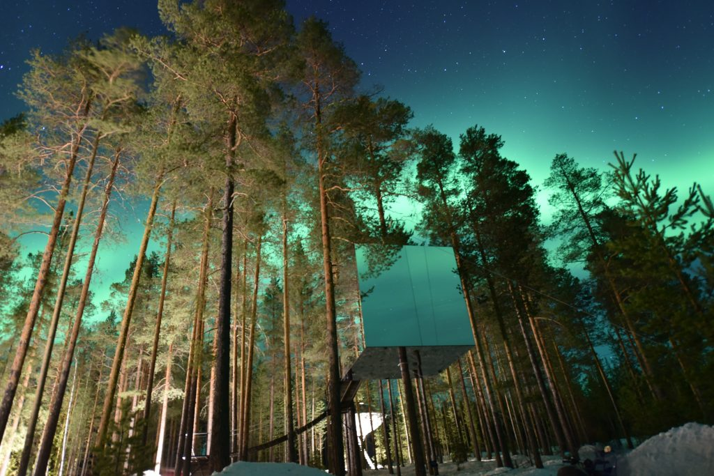 ciel vert Tree house hotel luxe aurores boréales