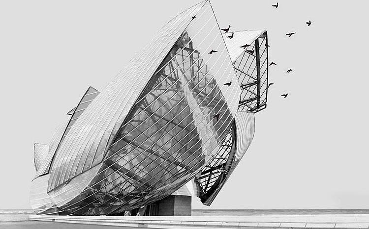Fondation Louis Vuitton exterieur noir et blanc