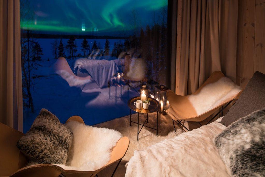 Vue panoramique hôtel aurores boréales