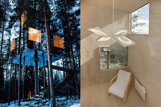 hôtel cube miroir dans les arbres aurores boréales