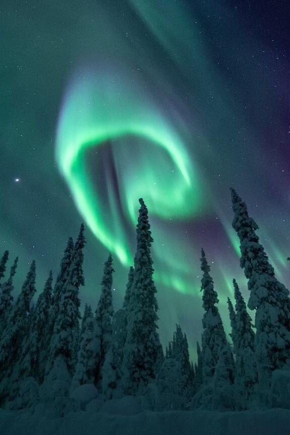 Ciel vert et bleu aurores boréales