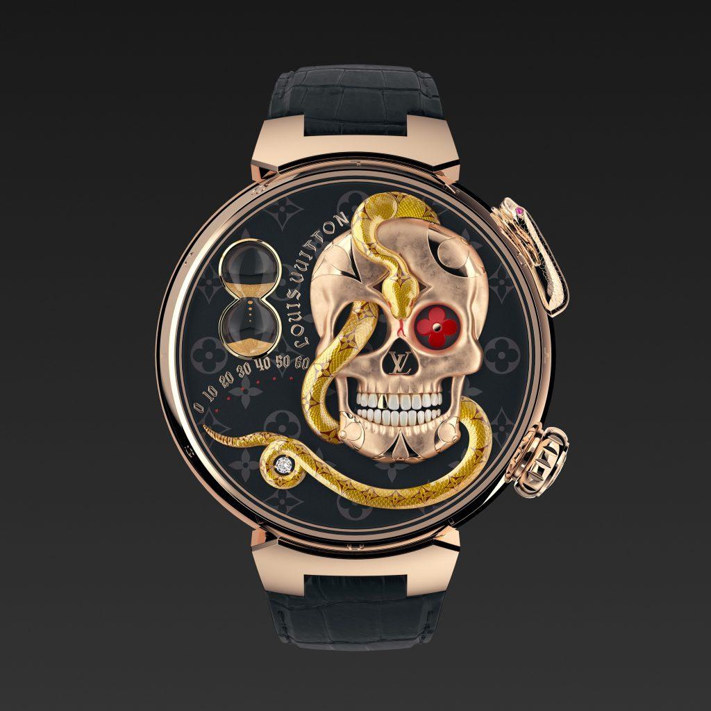Louis Vuitton Tambour Carpe Diem Crâne Serpent de face jacquemart- Minute Luxe Magazine