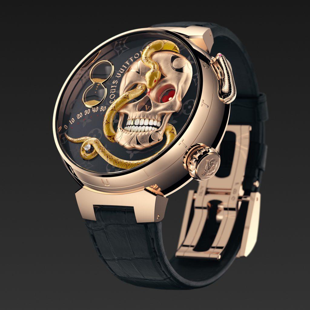 Louis Vuitton Tambour Carpe Diem Crâne Serpent de face jacquemart boucle déployante- Minute Luxe Magazine