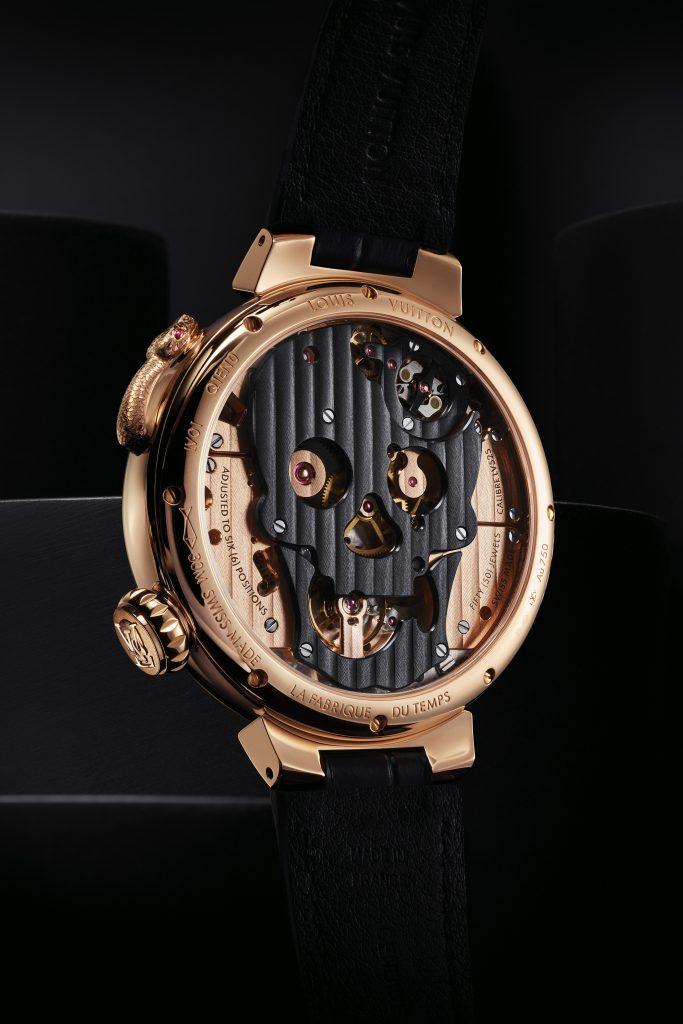 Louis Vuitton Tambour Carpe Diem Crâne Serpent de dos - Minute Luxe Magazine