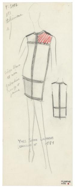 Collaboration Yves Saint Laurent x Mondrian Robe de luxe croquis dessin - Minute Luxe Magazine